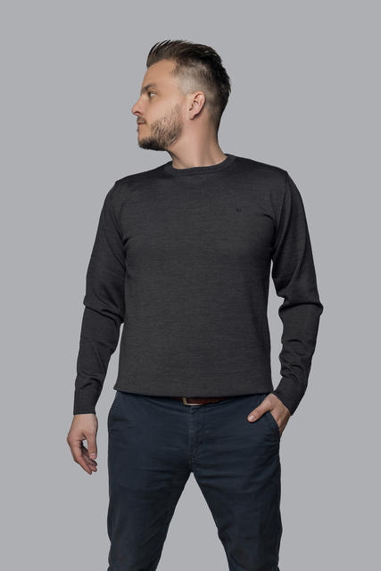 Herrenpullover aus Merinowolle Extra Fine - Black Night, XL - 2