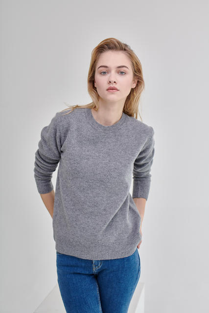 Damen Wollpullover Lambswool - Grey - 3